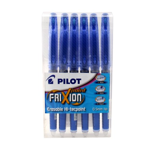Pilot Frixion Point Erasable Rollerball 0.5 mm Tip - Blue, Pack of 6 from Pilot