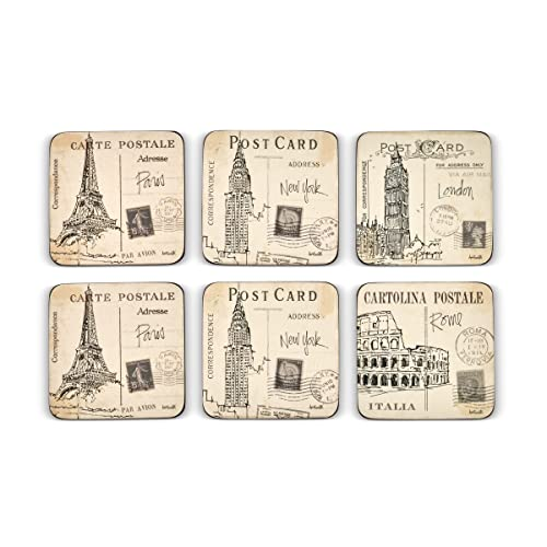 Pimpernel Postcard Sketches Coasters, Set of 6 from Portmeirion Home & Gifts