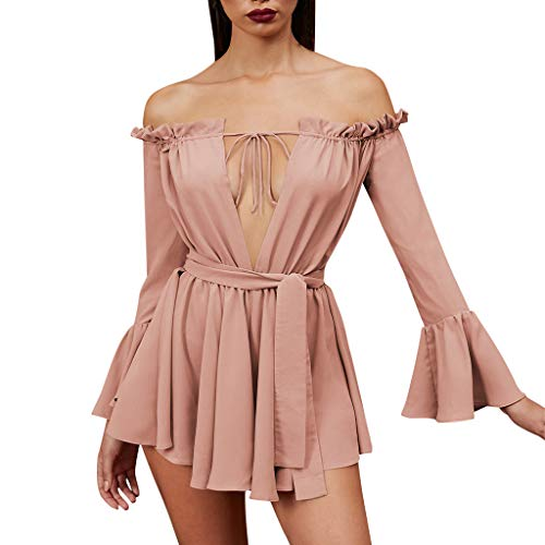 2019 Fashion New Trend Personality Dress,Pingtr_Women Sexy Off Shoulder Solid One Word Collar Long Sleeve Bow Mini Dress from Pingtr Dress
