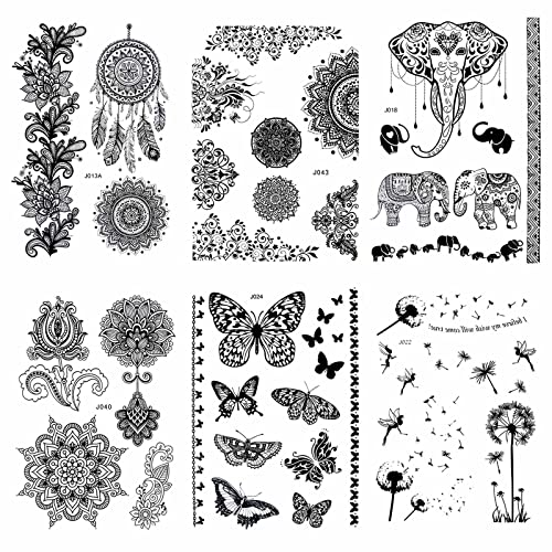 Pinkiou Pack of 6 Sheets Tattoo Stickers Lace Mehndi Temporary Tattoos Fashion Body Art Stickers (Black) from Pinkiou