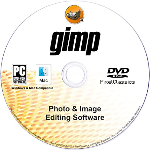 GIMP 2020 Photo Editor Premium Professional Image Editing Software CD for PC Windows 10 8.1 8 7 Vista XP, Mac OS X & Linux - Full Program & No Monthly Subscription! from PixelClassics