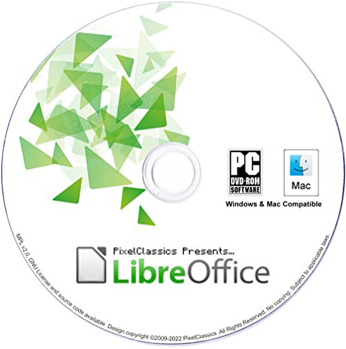 LibreOffice 2020 Compatible With Microsoft Excel 2016 - 2019 2013 2010 2007 365 Spreadsheet Software DVD CD for PC Windows 10 8.1 8 7 Vista XP 32 64 Bit, Mac OS X & Linux - No Yearly Subscription! from PixelClassics