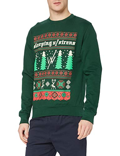 Plastic Head Men's Sleeping with Sirens Christmas Trees CS Sweatshirt, Green, Medium from Plastic Head