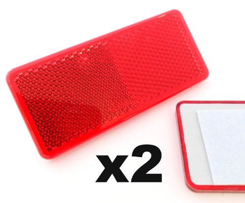Reflectors x2 Self-Adhesive Red Approved Rectangular Trailer Caravan - FREE FIRST CLASS UK POSTAGE! from Plastic Reflectors