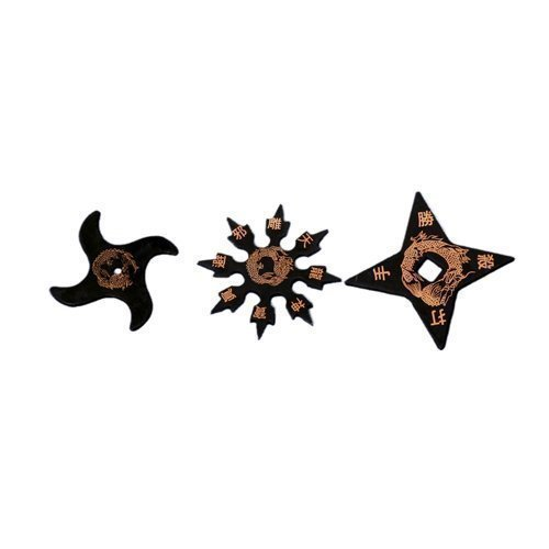 Martial Arts Childrens Black Rubber Training Ninja Stars (Set of 3) from Playwell
