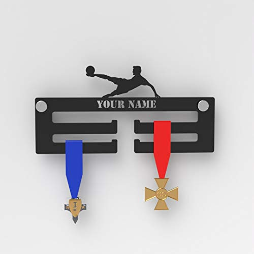 Plexico Football Personalised Medal Display Hanger/Black Acrylic Medal Hanger/Football from Plexico
