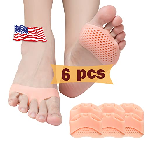 Metatarsal Pads, Ball of Foot Cushion (6 PCS), New Material, Forefoot Pads, Breathable & Soft Gel, Best for Diabetic Feet, Callus, Blisters, Forefoot Pain. (Nude) from Pnrskter