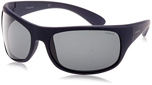 Polaroid Unisex Adult Sunglasses, Matte Dark Blue/Grey Polarized, 66 from Polaroid