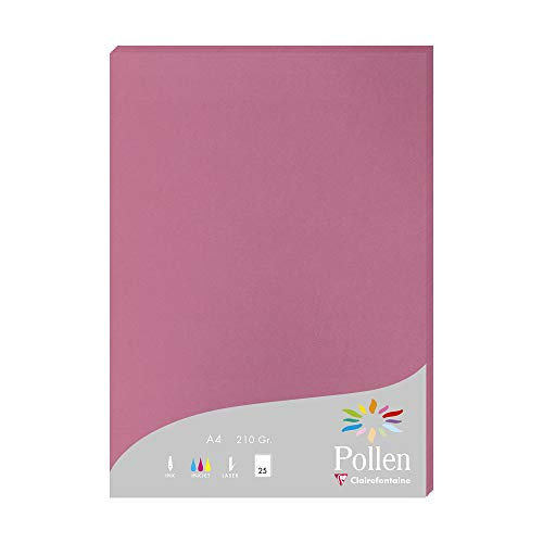 Clairefontaine Pollen Coloured Paper, A4, 210 g - Hydrangea Pink, Pack of 25 Sheets from Clairefontaine