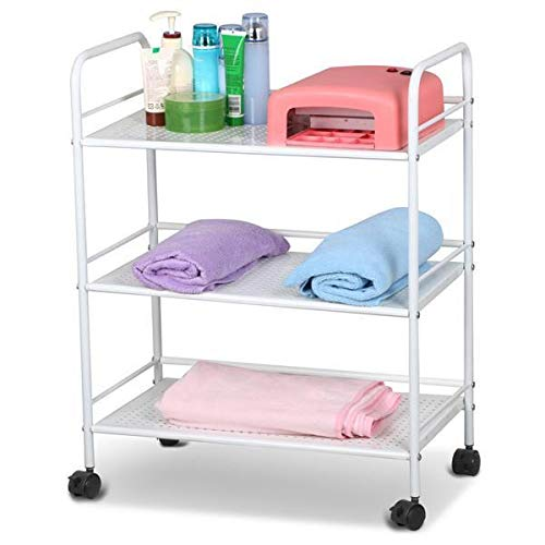 Yaheetech Large Beauty Salon Shelf Cart, Metal Salon Trolley Cart Spa Storage Tray Therapy Dentist Hairdresser Treatments Storage Rack Trolley Cart, 3 Shelves, White from Yaheetech