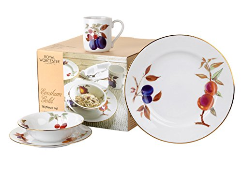 Portmeirion Home & Gifts Evesham Gold 16pc Dinner Set, Porcelain, Multi, 27x21x17 cm from Portmeirion Home & Gifts