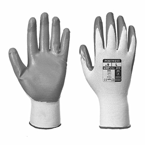 12 Pairs Portwest A310 Flexo Grip Nitrile Glove Working Gloves Safety Work Glove (Medium Size 8) from Portwest