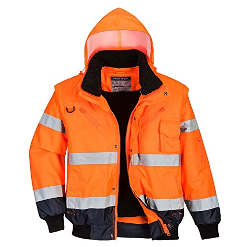 Portwest C465ONRM Hi-Vis Contrast Bomber Jacket, Regular, Medium, Orange/Navy from Portwest