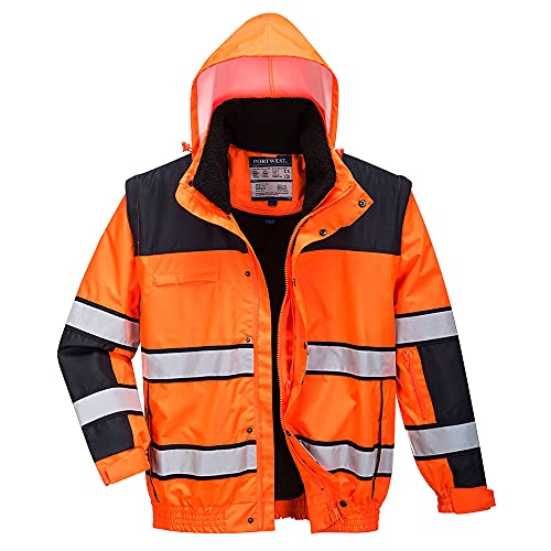PORTWEST C466OBRL Hi-Vis 236 Bomber Jacket, Orange, Large from Portwest