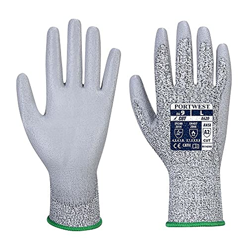 Portwest A620GRRS Cut 3 PU Palm Glove, Regular, Size: Small, Grey from Portwest