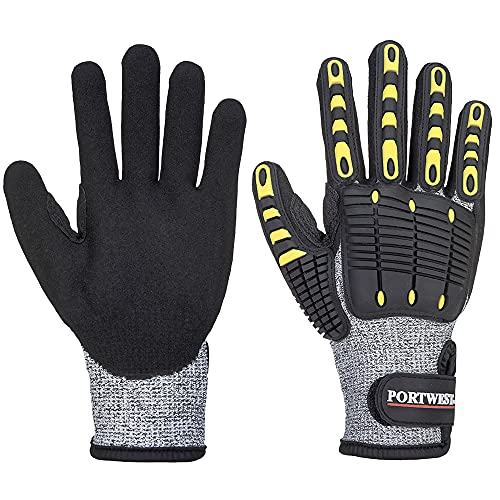 Portwest A722G8RXL Anti Impact Cut Resistant 5 Glove, Regular, Size: X-Large, Grey/Black from Portwest