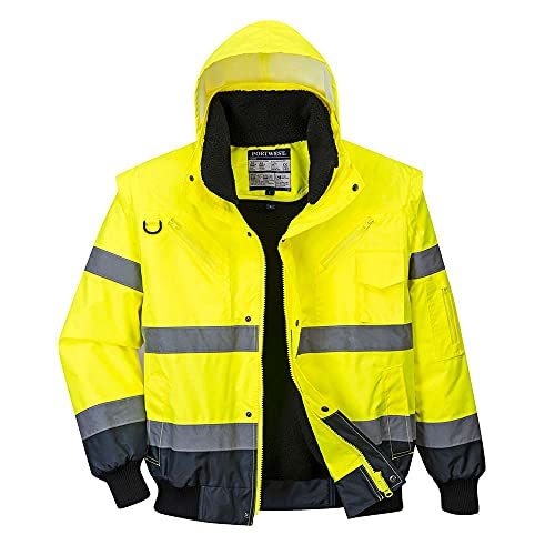 Portwest C465YNRXS Hi-Vis Contrast Bomber Jacket, Regular, X-Small, Yellow/Navy from Portwest