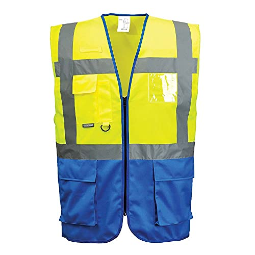 Portwest C476YRBL Warsaw Executive Vest, Regular, Large, Yellow/Royal from Portwest