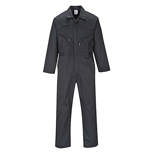 Portwest C813BKRXXXL Liverpool Zip Coverall, Regular, 3X-Large, Black from Portwest