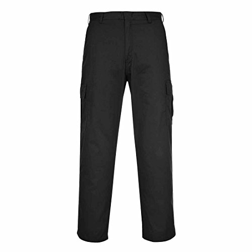 Portwest Classic Combat Trousers with Cargo Pockets, Black or Navy (W38 Reg, Black) from Portwest