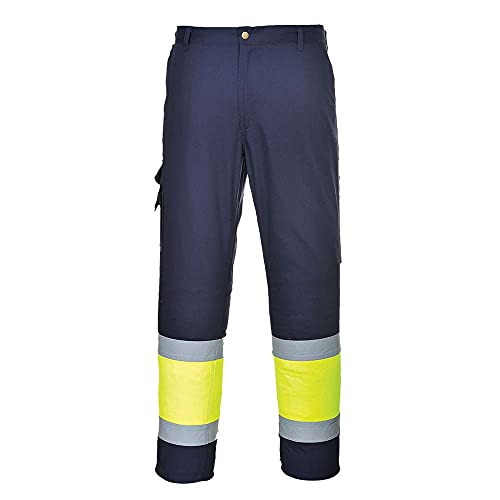 Portwest E049YNRXL Hi-Vis Two Tone Combat Trouser, Regular, X-Large, Navy/Yellow from Portwest
