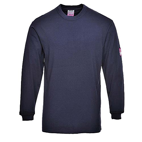 Portwest FR11NARL Flame Resistant Anti-Static Long Sleeve T-Shirt, Regular, Size: Large, Navy from Portwest