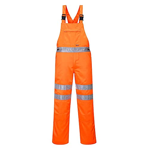 Portwest RT43ORRXL Series RT43 Hi-Vis Bib & Brace, GO/RT, Regular, Size: X-Large, Orange from Portwest