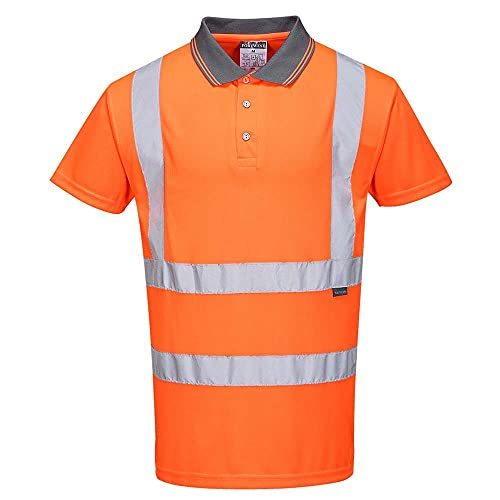 Portwest RT22ORRS Series RT22 Hi-Vis Short Sleeved Polo, GO/RT, Regular, Size: Small, Orange from Portwest