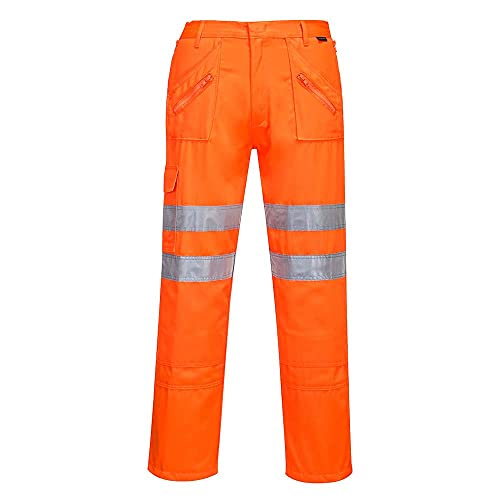 Portwest RT47ORRXL Series RT47 Rail Action Trouser, Regular, Size: X-Large, Orange from Portwest
