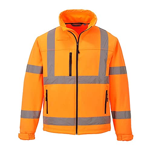 Portwest S424ORRM Hi-Vis Classic Softshell Jacket, Three Layer, Regular, Size Medium, Orange from Portwest