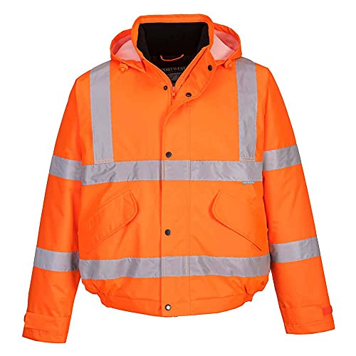 Portwest S463ORRXXL Hi-Vis Bomber Jacket, Regular, Size XX-Large, Orange from Portwest