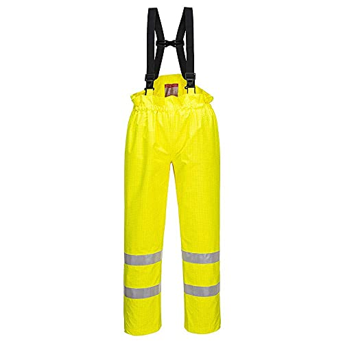 Portwest S780YERM Bizflame Rain Unlined - Hi-Vis Antistatic FR Trouser, Regular, Size: Medium, Yellow from Portwest