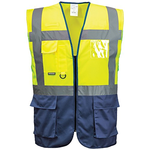 Portwest Hi VIS Executive/Manager Vest/Safetywear (M) (Yellow/Navy) from Portwest