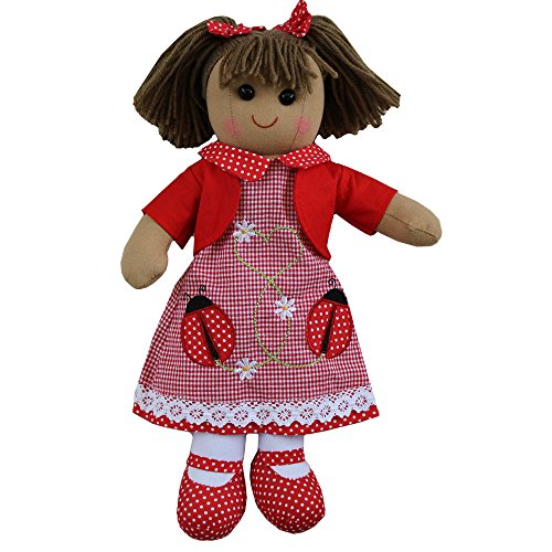 Ladybird embroidered dress rag doll with red cardigan and red polka dot shoes. size 40cm. from Powell Craft