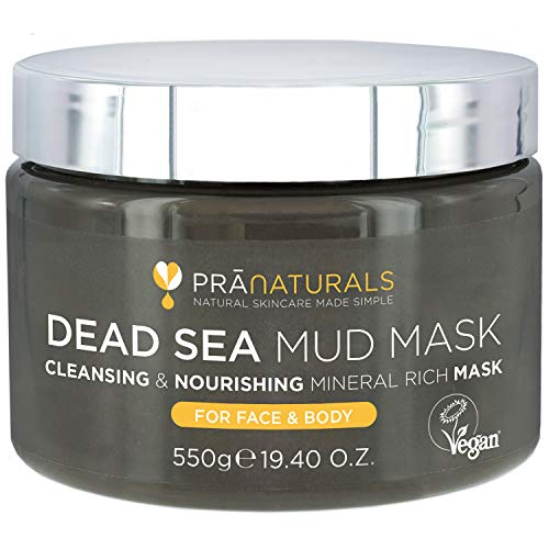 PraNaturals Dead Sea Mud Mask 550g 100% ORGANIC, NATURAL & VEGAN Certified, Cruelty-Free Cosmetic - Mineral-Rich, Hydrates, Detoxifies & Deeply Cleanses Skin Anti-Ageing, Suitable for All Skin Types from PraNaturals