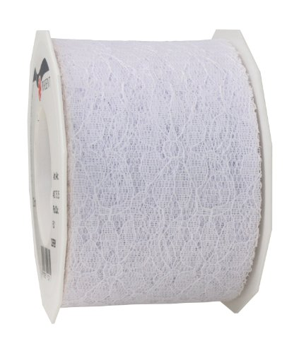 C.E. Pattberg Derby White, 27 Yards of Lace Ribbon for Gift, 2.8 inches Width, Accessories for Decoration & Handicrafts, Decoration Tape for Wrapping Presents, 72mm-25m from C.E. Pattberg