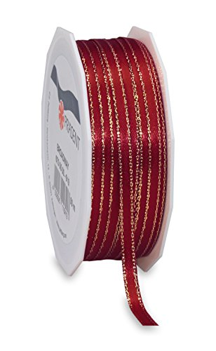 "Präsent"" Broadway Ribbon Spool, Polyester Bordeaux/Gold, 9 x 9 x 3 cm from C.E. Pattberg"