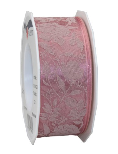 Prasent 40 mm - 20 m 1-Piece Wildrose Wired Organza Decor Ribbon, Pink from C.E. Pattberg