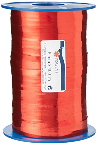C.E. Pattberg MEXICO Metallic Gift Ribbon red, 440 yards of Balloonribbon for Gift Wrapping, 0.2 inches width, Accessories for Decoration & Handicrafts, Decoration Ribbon for Presents from C.E. Pattberg