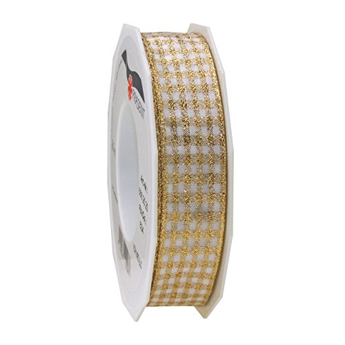 Prasent 20 m 25 mm Vichy Metallic Wired Decorative Woven Ribbon, Gold/White from C.E. Pattberg