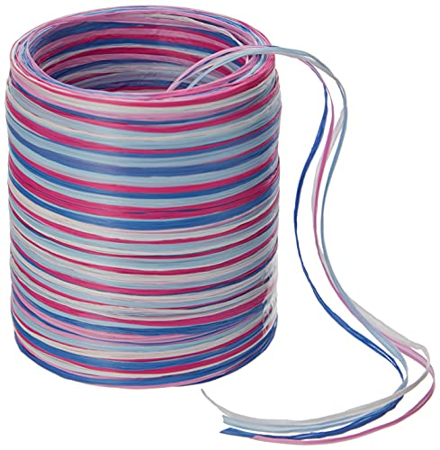 C.E. Pattberg Raffia Multicolour Pink White, 55 Yards Wrapping Presents, 5-Strand Ribbon for Gifts, Accessories for Decorating and Handicrafts, for Every Occasion, Blue 1, 50 meter spool from C.E. Pattberg
