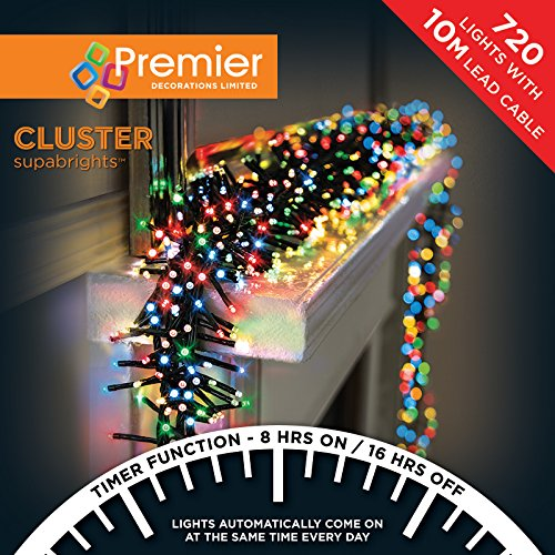 Premier Decorations - 720 Multi Action Cluster LED Lights with Timer - Multi-Colour from Premier Decorations