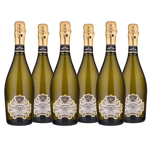 Premier Estates | Best Prosecco D.O.C. | Sparkling White Wine | Millesimato from Italy | Case of 6 x 75cl Bottles | Extra Dry from Premier Estates