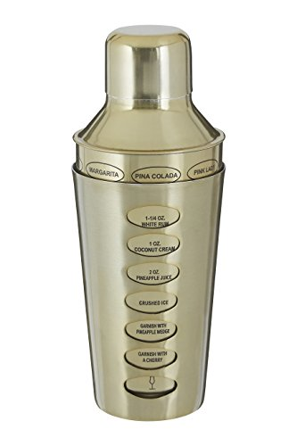 Premier Housewares 0507497 Recipe Cocktail Shaker 500ml, Stainless Steel, Brass from Premier Housewares