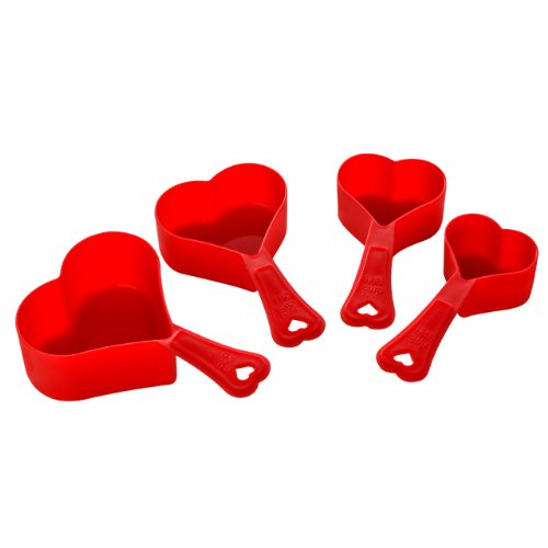 Premier Housewares 4 Piece Red Love Heart Shaped Measuring Spoon Set Cups and Mls Premier from Premier Housewares