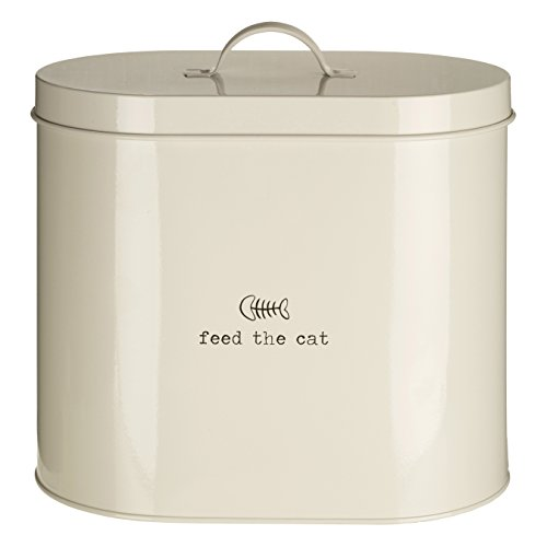 Premier Housewares Adore Pets Feed The Cat Food Storage Bin with Spoon, 6.5 L - Cream from Premier Housewares