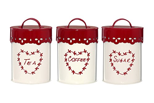 Premier Housewares Anglaise Tea/Coffee and Sugar Canisters - Set of 3, Cream/Red from Premier Housewares