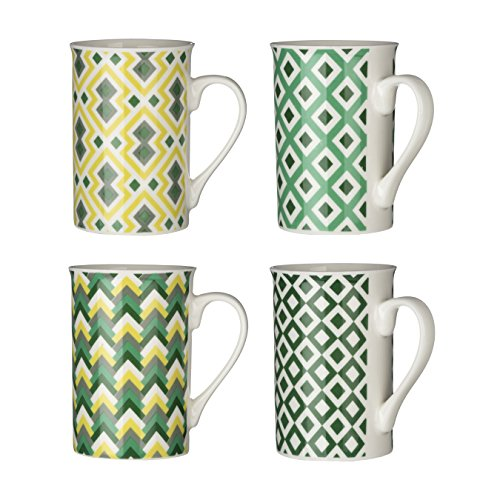 Premier Housewares Austin Mugs, Green, Set of 4, Porcelain, 16 x 15 x 11 cm from Premier Housewares