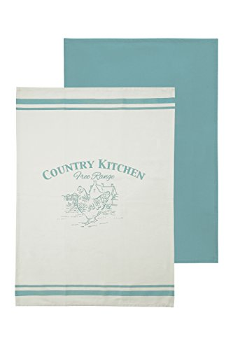 Premier Housewares Country Kitchen Tea Towels - White/Teal, Set of 2 from Premier Housewares