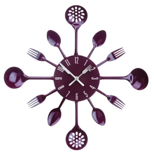 Premier Housewares Cutlery Wall Clock - Purple from Premier Housewares